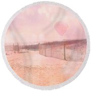 Surreal Dreamy Pink Coastal Summer Beach Ocean With Balloons Round Beach Towel