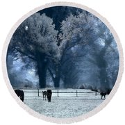 Surreal Fantasy Fairytale Infrared Nature Horses Blue Landscape Round Beach Towel