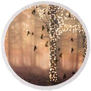 Surreal Fantasy Nature Trees Woodlands Forest Sparkling Lights Birds And Trees Nature Landscape Round Beach Towel