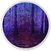 Surreal Fantasy Starry Night Purple Woodlands - Purple Blue Fantasy Nature Fairy Lights  Round Beach Towel by Kathy Fornal