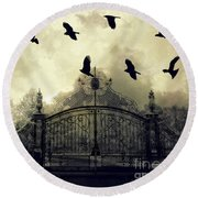 Surreal Gothic Spooky Haunting Gate With Ravens Round Beach Towel by Kathy Fornal