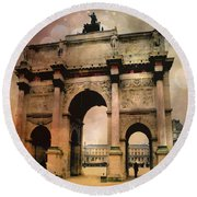 Louvre Museum Arc De Triomphe Louvre Arch Courtyard Sepia- Louvre Museum Arc Monument Round Beach Towel by Kathy Fornal