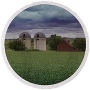 Surrounded By Fields Round Beach Towel
