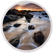 Surrounded By The Tides Round Beach Towel