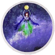 Round Beach Towel featuring the painting Survivor by Alys Caviness-Gober