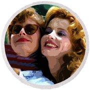 Susan Sarandon And Geena Davies Alias Thelma And Louis - Watercolor Round Beach Towel by Doc Braham