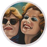 Susan Sarandon And Geena Davies Alias Thelma And Louise Round Beach Towel