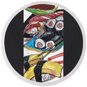 Sushi Bar Painting Round Beach Towel by Ecinja Art Works