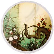 Sunshine In The Garden Round Beach Towel