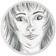 Round Beach Towel featuring the drawing Portrait Stunning by Teresa White