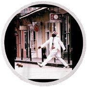 Round Beach Towel featuring the photograph New Orleans Suspended Animation Of A Mime by Michael Hoard
