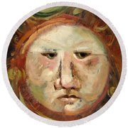 Suspicious Moonface Round Beach Towel