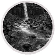 Svartifoss Waterfall In Black And White Round Beach Towel