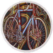Round Beach Towel featuring the painting Swallow Bespoke Bicycle by Mark Howard Jones