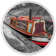 Swallow Canal Boat Round Beach Towel