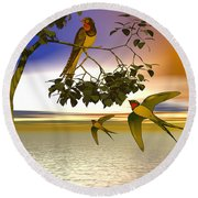 Swallows At Sunset Round Beach Towel