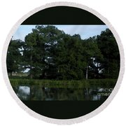Swamp Cypress Trees Digital Oil Painting Round Beach Towel by Joseph Baril
