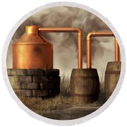 Swamp Moonshine Still Round Beach Towel