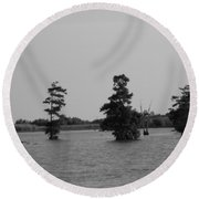Round Beach Towel featuring the photograph Swamp Tall Cypress Trees Black And White by Joseph Baril