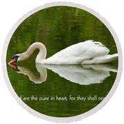 Swan Heart Bible Verse Greeting Card Original Fine Art Photograph Print As A Gift Round Beach Towel