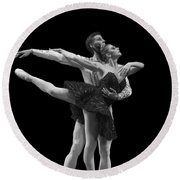 Swan Lake  Black Adagio  Russia  Round Beach Towel