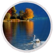 Beautiful Autumn Swan At Lake Schiliersee Germany  Round Beach Towel