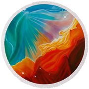 Round Beach Towel featuring the painting Swan Nebula by Barbara McMahon