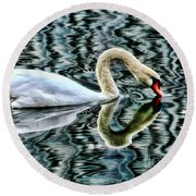 Swan On Lake Eola By Diana Sainz Round Beach Towel