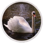 Swan Pose Round Beach Towel