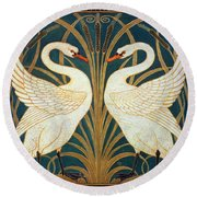 Swan Rush And Iris Round Beach Towel