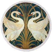 Swan Rush And Iris Round Beach Towel by Walter Crane