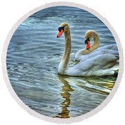 Swan Song Round Beach Towel