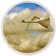 Swan Song Round Beach Towel