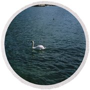 Swan Swimming In A Lake With A Castle Round Beach Towel
