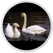 Swan Two Round Beach Towel