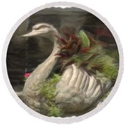 Swan With Beautiful Flowers Round Beach Towel