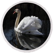 Swan With Reflection  Round Beach Towel