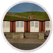 Round Beach Towel featuring the photograph Swanage Beach Huts by Linsey Williams