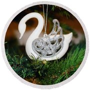 Round Beach Towel featuring the photograph Swans A Swimming by Cassandra Buckley