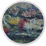 Round Beach Towel featuring the painting Swans In Lilies  by Avonelle Kelsey