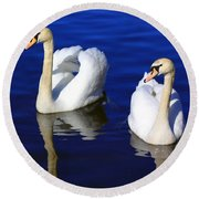 Swans On The Lake Round Beach Towel