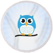 Sweet And Cute Owl Round Beach Towel