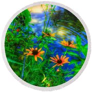 Sweet And Daisy Round Beach Towel