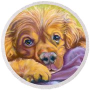 Sweet Boy Rescued Round Beach Towel