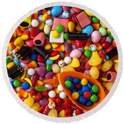 Sweet Candy With Scoop Round Beach Towel