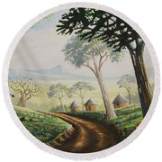 Round Beach Towel featuring the painting Sweet Home by Anthony Mwangi