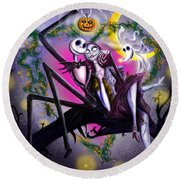 Sweet Loving Dreams In Halloween Night Round Beach Towel