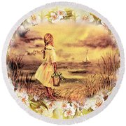 Round Beach Towel featuring the painting Sweet Memories A Trip To The Shore by Irina Sztukowski