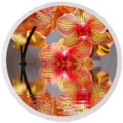 Sweet Orchid Reflection Round Beach Towel by Judy Palkimas