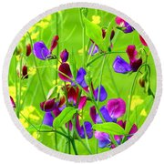 Round Beach Towel featuring the photograph Sweet Peas by Byron Varvarigos